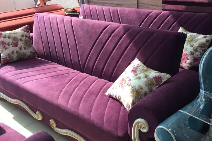 mor renkli şahene bir kanepe ucuz fiyata satılık