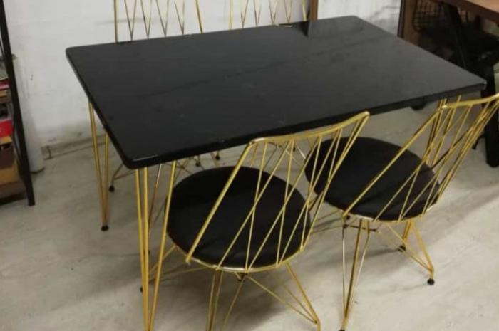 dikdörtgen mermer görümlü masa sandalye takımı